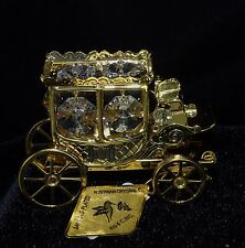Ornament Stage Coach with Austrian Crystal 24K Gold Plated Figurine Christmas