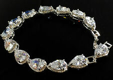 "14k White Gold Tennis Bracelet made w Swarovski Crystal Bling Clear Stone 7""+.75"