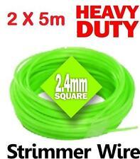 2x 5m DECESPUGLIATORE Cavo Filo Corda in Nylon 2,4 mm Square Benzina Stihl HEAVY DUTY