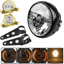 "Universal 6.5"" Headlight Amber LED For Chopper Custom Cafe Racer Bobber +Bracket"