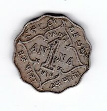 1918 India British George V 1 Anna Coin T-874