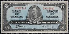 BANK OF CANADA 1937 - $5 NOTE - Prefix N/C - Signed Gordon & Towers