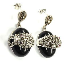 ART DECO STYLE BLACK ONYX RUBY EYES MARCASITE PANTHER EARRINGS 925 SILVER