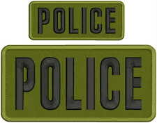 POLICE embroidery patch  4x8 and 2x5 hook od green