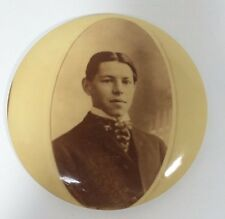 """Victorian Photo Button Young Man Fancy Dress Sepia Wall  6"""" Columbia Portrait Co"""