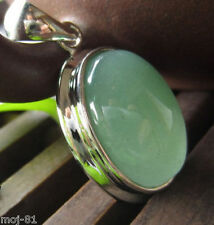 Fashion Jewelry Green Natural Jade Oval Gemstone Pendant Necklace