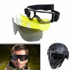 Hot 3 Lens Tactical UV-400 Protection Goggles Eye Wear Safety Airsoft  Glasses