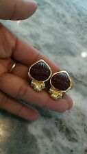 Pretty vintage gripoix faux emerald ruby gold tone clip  earrings
