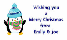 42 Large Personalised Labels / Address /Christmas Penguin (Stickers) no 255