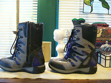 Totes All Weather Mid Calf/Lace Up Boots SZ 6M...Blue/Black/Gray...Preowned