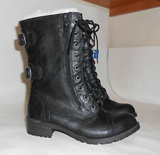 """New black1.5""""low block heel sexy ankle Lace  Combat Winter boot Size 7 p"""