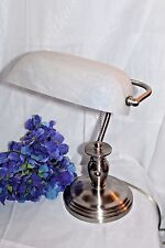 Elegant Brushed Nickel Traditional Bankers Desk Lamp w/Frosted White Glass Shade