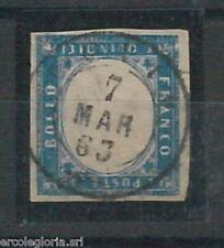 555225 - ITALIA REGNO -  Sassone  11d  USATO con annullo CUVIO 1863 - BELLISSIMO
