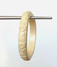 """Vintage Ivory Lucite Floral Carved 2 3/8"""" Inner Diameter Bangle Bracelet"""