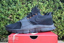 NIKE FREE ACE LTHR SZ 10.5 BLACK HYPER ORANGE LEATHER SUEDE 749627 001