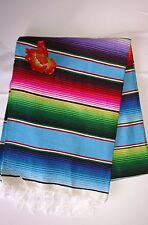 Mexican Serape Blanket Light Blue Multicolor throw Boho chic XLARGE woven Falsa