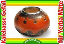 Chilenische Kalebasse ARENAS mit schöner Virolle aus Stahl für Matetee
