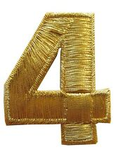 "NUMBERS-2""H Gold Number ""4"" Iron On Embroidery Appliqué Patch"