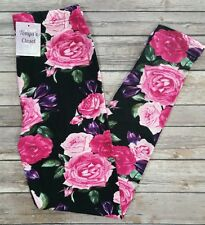 Pink Rose Floral Leggings Valentines Day Print One Size OS