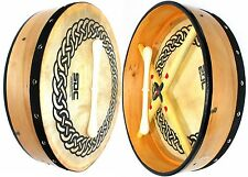 """NEW DEURA 16"""" NATURAL BODHRAN with CASE/BEATER CELTIC CIRCLE ON HEAD"""