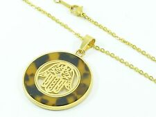 Stainless Steel Gold-Tone Chain Link Necklace Pendant Charm Hamsa Hand CZ