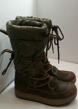 Arizona Womens Size 8.5 M Winter Outdoor Boots Army Green Brown Suede Mid-calf