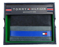 Brand New Men's Tommy Hilfiger Leather Black/Blue Wallet Bifold-Box #45577
