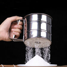 Mechanical Flour Sugar Icing Mesh Sieve Sifter Shake Baking Stainless Steel EW