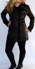 New Womens Jessica Simpson Black Faux Leather Insulated Jacket Coat Size Large