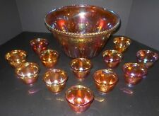 Vintage Indiana Carnival Glass Grape Leaf  Punch Bowl W/12 Matching Cups EC