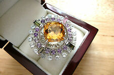 HUGE CITRINE,TOPAZ,TOURMALINE, 925 STERLING SILVER STATEMENT ROUND RING SZ P 8