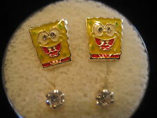 SPONGE BOB Screw Back Child Character Earring with Stones in Silver