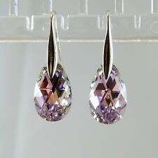 925 Sterling Silver Earrings Purple VL Teardrop Dangly Swarovski Element Crystal