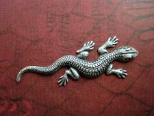 Large Oxidized Silver Plated Brass Lizard Stamping  (1) - SOFF0581