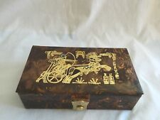 "Egyptian Camel Leather Jewelry Box King Ramses 9"" X 5"" # 142"