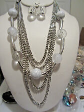 Filve Layers White And Clear Lucite Bead Silver Tone Links Long Necklace Earring