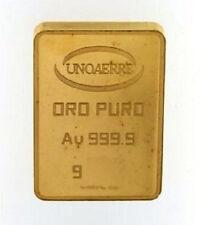LINGOTTO UNOAERRE ORO PURO 10 GRAMMI  24KT CARATI 999/00 GOLD BULLION 24 CARATS