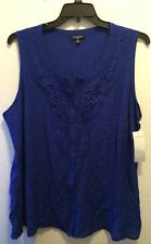 Women's Blue Notations Sleeveless Button Front Crochet Detail Top SZ: 3X