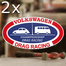2x pieces Volkswagen Drag Racing sticker decal vw bug beetle aircooled bus 6""