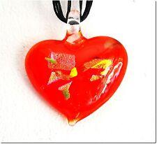 Pomme d'amour rouge pendentif coeur verre murano bijou lampwork mode été.
