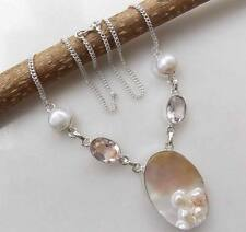 """BOLD HANDCRAFTED BIWA PEARL, RIVER PEARL & AMETHYST  SILVER NECKLACE 18"""""""