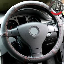 CAR STEERING WHEEL COVER SIZE 37-39cm BLACK LEATHER RED STITCHING