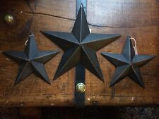 "(Set of 3) BLACK BARN STARS 8""/5.5"" PRIMITIVE RUSTIC COUNTRY DECOR ANTIQUE"