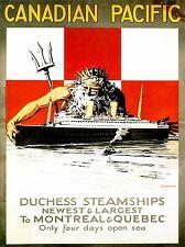 ART PRINT POSTER VIAGGIO Steamship FODERA NETTUNO POSEIDON nave Canada nofl1372