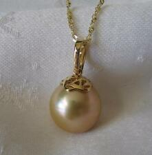 "14K GOLD & 15.3 x 15.3MM RICH GOLDEN SOUTH SEA PEARL PENDANT-ENHANCER~18"" CHAIN"