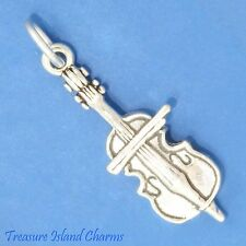 CELLO MUSIC INSTRUMENT 3D .925 Solid Sterling Silver Charm Pendant
