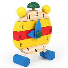 Kids Wooden Clock Pre-School Learning Toy Numbers Fun Activity Toys New