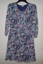 MARKS AND SPENCER INDIGO COLLECTION NAVY & GREY FLORAL PATTERN DRESS SIZE 12
