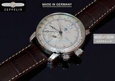 German Made New Zeppelin 7640-1 Mens Swiss Quartz Ronda Dual Time SL Steel Watch