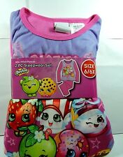 Brand New Girls SHOPKINS Flannel Pajamas 2 piece Sleep wear Set Size 6/6x